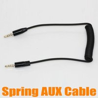 Wholesale Spring AUX Cable mm Stereo Male to Male Audio Cable Four Level Retractable Cable CM CM For Mobile Phone For MP3 MP4 up