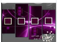 Cheap 4 Piece Wall Art Modern Abstract Acrylic PURPLE Oil Painting On Canvas Orient Colorful Prints picture