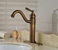 bathroom sink base - Bathroom Basin Faucet Antique Brass Sink Tap Deck Mounted Mixer Tap With Base Plate