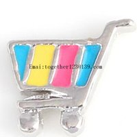 best shopping carts - new color shopping cart silver floating locket charms mix for floating memory glass living locket necklace pendant best gift