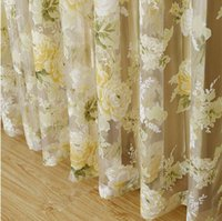 Wholesale HOT High quality modern rose floral tulle for window curtain sheer Curtains for living room the bedroom window Screening panel A5