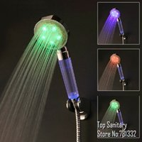 Wholesale LED lighting temperature control Rain hand shower Romatnic Crystal handle LED shower faucet chuveiro ducha douche banheiro
