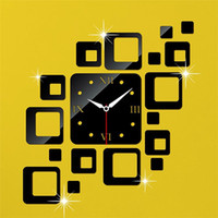 Wholesale Hot Model Square Mirror Wall Clock Acrylic Wall Mirrors Modern Design Clock on the Wall Z00425