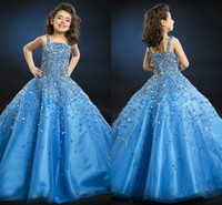 Wholesale 2015 Glorious Ball Gown Pageant Dresses Strapless Spaghetti Sequins Crystal Tulle Floor Length Royal Blue Backless Flower Girls Dresses