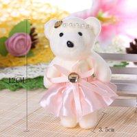 achat en gros de deux ours en peluche rose-Fleur rose Teddy Bear 12CM Pendentif Peluches Bouquets pendentifs couple Doll Cartoon Bouquets 20 Pcs mariage Ursinho De Pelucia