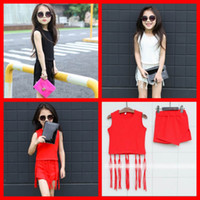 2015 New Fashion Cute Kid Girls Summer Tassel Tops and Asymmetric