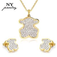 Wholesale Hot sale bear jewerly sets for women k gold plated stainless steel pendant earrings with crystal stone free chain