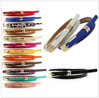 ladies belts - 15 colors Multi Color Thin Skinny Faux Leather Waistband Womens Ladies Casual Belt Strap B356