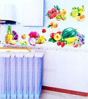 Cheap Free shipping Fruit wall sticers 3D Kitchen window Grapes Apple Strawberry Watermelon Fruit Home Decoration
