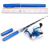Wholesale Mini Portable Pocket Pen Shape Aluminum Alloy Fish Fishing Rod Pole Spin Reel fishing pen