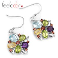 Cheap Genuine Amethyst Citrine Garnet Peridot Sky Blue Topaz Gemstone Drop Earrings Dangle Real Solid 925 Sterling Silver Women Set