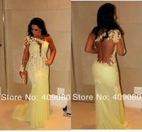 selena gomez dress - 2015 One Shoulder Mermaid Evening Gown Backless Party Celebrity Prom dresses Pageant fitted Blush Lace selena gomez dress