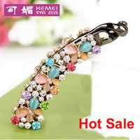 banana hair clip - high qualtity Korean fashion opal butterfly with diamond hair accessories banana clips crystal barrettes clips eight colors