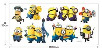 Wholesale 2015 Cartoon Small Minions Despicable Me Removable Wall Sticker DIY Kids Child Room Decor Decal Home Decoration Stickers Wallpaper B0624