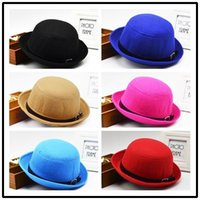 Wholesale Monochromatic belts dome edge wool hats for men and women facing four small round cap