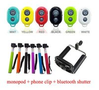 Wholesale 3 in Extendable Handheld Self portrait Monopod selfie stick Photograph Bluetooth Shutter Camera Remote Controller in blister pack