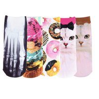Wholesale 1pair D Printed socks Men Women Unisex Cute Low Cut Ankle Socks Multiple Colors Cotton sock Women s Casual Charactor Socks New