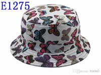 Wholesale 2014 butterfly bucket cloches High Quality cotton bucket hats and caps bone for men women colorful mens womens fishing hat