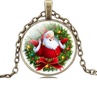 antique santa claus - glass cabochon necklace christmas gift Santa Claus pendant necklace silver antique bronze chain statement necklace DH