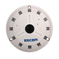 Wholesale ESCAM QP130 Degree Fish Eye MP IP Camera Security CCTV Network Camera Motion Detection H Onvif P2P Support Mobile APP SD Card