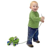 Wholesale Wooden Frolicking Frog Pull Along and Go Kids Baby Toddler Learning to Walk Toy