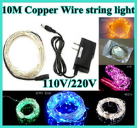 Wholesale 50pcs V V ft m LED Copper Wire Branch String Lights Party Holiday decoration Fairy Light with Controller Lines Cable and plug