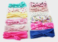 head - 20pcs Xmas Bohemian cotton girl baby bow Headband Wave point Turban Twist Head Wrap Twisted Knot Soft Hair band Headbands Bandanas FD6521