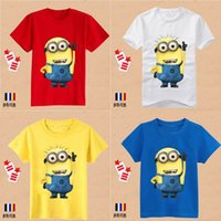 Ball Gown free shipping t-shirt - New Despicable me minions children kids boys short sleeve t shirt Summer children s clothing baby clothes MYF231