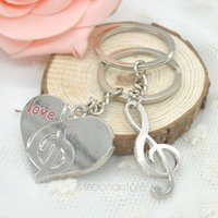 photo frame gifts - 50pcs pairs Fashion Lovers gift keychain couple Love Heart musical note key chain wedding gift KeyChain