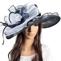church hats - Special Design Wedding Hat Beautiful Flower Church Wide Brim Hats Summer Organza Dress Hats Breathable and Soft S02