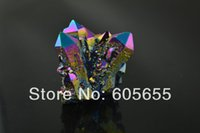 Wholesale Natural Crystal Rough Mineral Display Decor Rainbow color Plated Stone Point Rough Craft pc per
