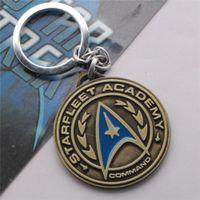 academy ring - 2015 New STAR TREK Academy Command Logo Hollow Star Mark Pendant Cupreous Silver Bronze Alloy Keychain Ring