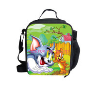 animal print toms - new fashion animal D printing Tom and Jerry lunch bag for boy children shoulder cat and mouse picnic bags thermal lunchbox