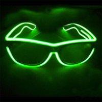 Wholesale Simple el glasses El Wire Fashion Neon LED Light Up Shutter Shaped Glow Sun Glasses Rave Costume Party DJ Bright SunGlasses