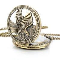 steampunk pocket watch - Bronze Retro Antique Pocket Watch Vitnage Steampunk Fashion Necklace Chain Bird Eagle p057