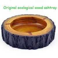 Wholesale Creative Personalised Wooden Ashtray Natural Wood Cool Ashtray Creative Gifts Classic Tabletop Decoration Pocket Car Ashtray