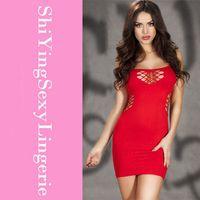 Wholesale Sexy Cheap Women Nighties - Cheap New 2015 Red Rosy Honeycomb Hollows Chemise Mini Dress Alluring Pyjamas Women Sexy Lingerie Nighties Free Shipping