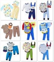 100% cotton suit - 2015 Brand New Baby Clothes Suits Bib Bodysuit Pants Sets Month Cotton Babe Bodysuit