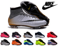 Wholesale Nike Mercurial Superfly FG Kids Soccer Shoes Boots mens CR7 Cleats Laser Youth Women Boy s Football Sneakers Eur Size
