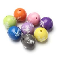 gumball beads - Latest mm Chunky Beads White Pattern Solid Acrylic Gumball Beads For Kids Necklace Jewelry