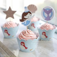 Birthday baby shower cake topper - Little Mermaid cupcake wrappers toppers cake picks for baby shower girl birthday party decorations supplies favors