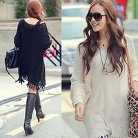 V-Neck baggy sweater dress - 2015 Oversized sweater dress Womens Long Batwing Sleeve sweater Loose Knit Coat Sweater Baggy plus size