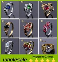 Wholesale 2014 New Sterling Silver Couple Rings Platinum Ring With Austria Crystal Gemstone Rings Wedding Rings