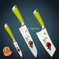 beautiful kitchen photos - Hot sale high quality stainless steel kitchen knife set with Teflon technical beautiful Rose photo on