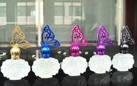 Wholesale 120pcs Frosted Glass Perfume Empty Bottles Spray Butterfly Design Refillable Bottle Travel Outfits Wedding Gift ML wsp001
