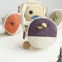 Wholesale 24pcs Four Style Canvas Zipper Wallet Retro Round Coins Wallet Girls Mini Earphone Hand Bag HJ323
