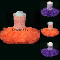 Cheap RAB045 Hot Sale For Toddler Orange Purple Tiers Organza Skirt Ball Gown Baby Short Mini Dresses Kids Party Little Girl Pageant Dresses 2015