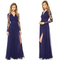 Wholesale So Beautiful Navy Blue Lace Long Sleeve Dresses Party Evening with Slit In Stock V neck Full length Street Style Cheap Dresses