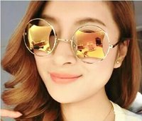 acrylic glass sheet - Hollow Rectangular Lens Reflex Round Metal Glasses Personality Sunglasses Corners Sheet Color Full Frame Sun Glasses Oculos De Sol