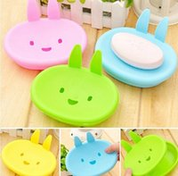 Wholesale Delicate Lovely Cute Rabbit Plastic Holder Dish Soap Box Case Bathroom Washroom